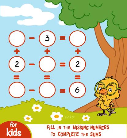 Conteggio del gioco per bambini in età prescolare. Educativo un gioco matematico.
