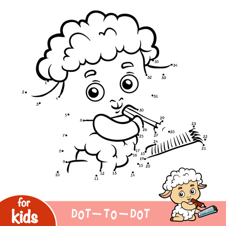 Numbers game, education dot to dot game for children, Sheep writer with a pencil and a notebook