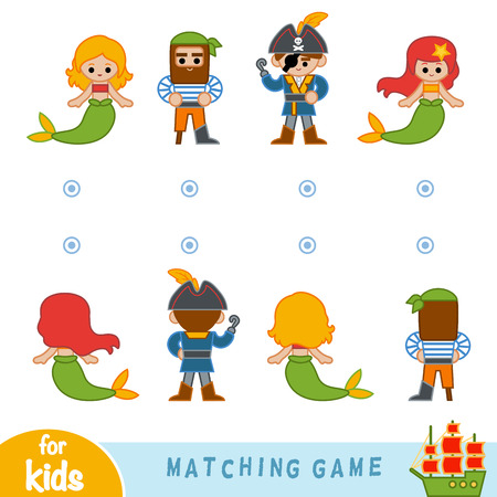Matching game for children. Find the front and back of the fairy-tale characters, mermaids and pirates