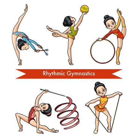 Ensemble coloré de vecteur de gymnastique rythmique. Fille de dessin animé avec le ballon, avec des clubs, ruban, corde à sauter et cerceau