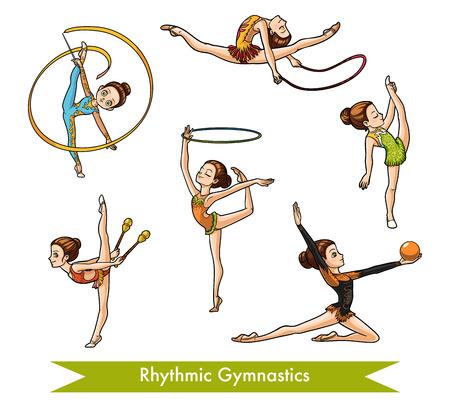 Insieme variopinto di vettore di ginnastica ritmica. Ragazza del fumetto con la palla, con fiori, nastro, corda per saltare e cerchio