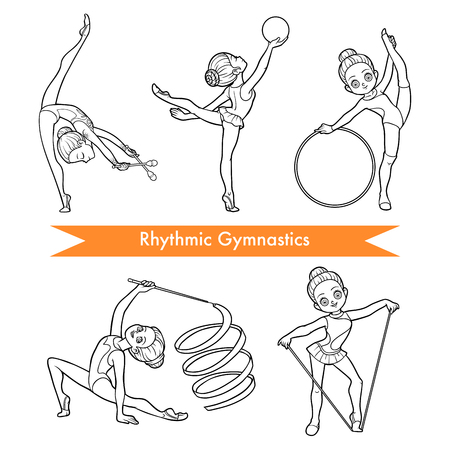 Black and white vector set of rhythmic gymnastics. Cartoon girl with the ball, with clubs, ribbon, skipping rope and hoop.