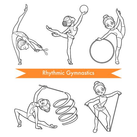 Ensemble de vector noir et blanc de gymnastique rythmique. Fille de dessin animé avec le ballon, avec des clubs, ruban, corde à sauter et cerceau. Vecteurs