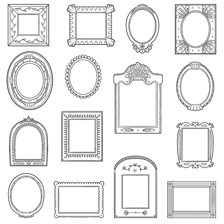 Black and white set of frames vector. Hand drawn decorative cartoon photo frames. Çizim