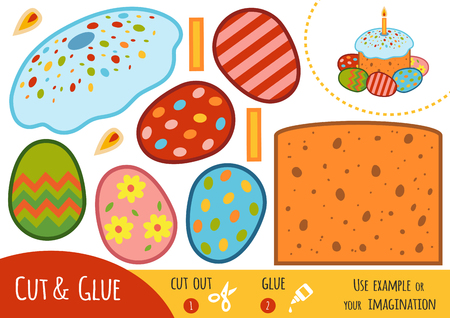 Education paper game for children, Easter cake and colored eggs. Use scissors and glue to create the image.