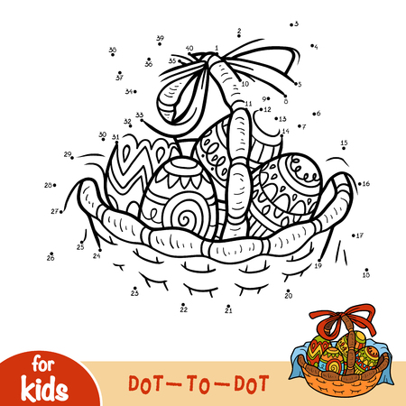 Numbers game, education dot to dot game for children, Easter basket with colored eggs.