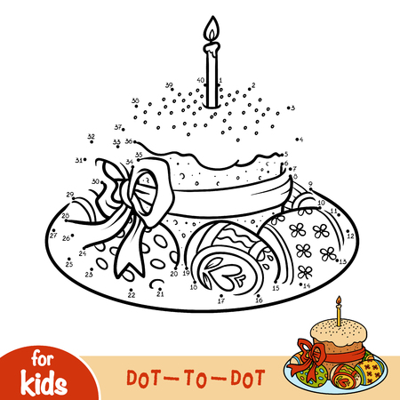 Numbers game, education dot to dot game for children, Easter cake and colored eggs.