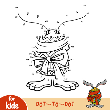 Numbers game, education dot to dot game for children, Easter rabbit and egg.