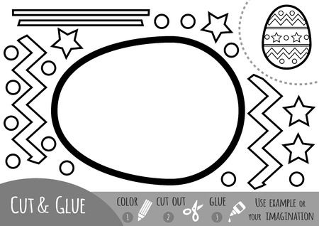 Education paper game for children, Easter egg. Use scissors and glue to create the image.