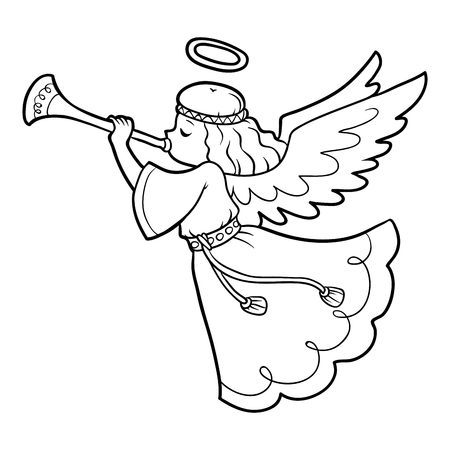 Coloring book for children, angel.