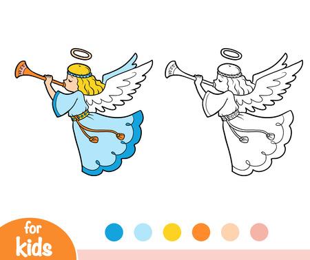 Coloring book for children, angels. Stock Illustratie