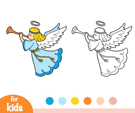 Coloring book for children, angels. Vectores