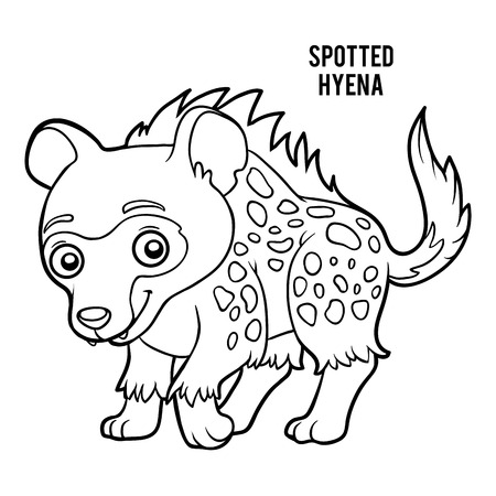Coloring book for children, spotted hyena.