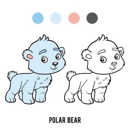 Coloring book for children, polar bear vector illustration.