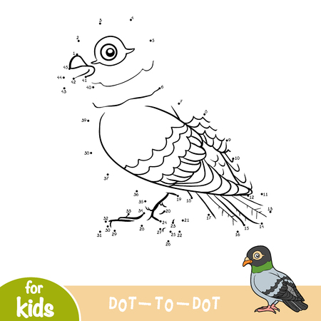 Numbers game, education dot to dot game for children, pigeon. Illustration