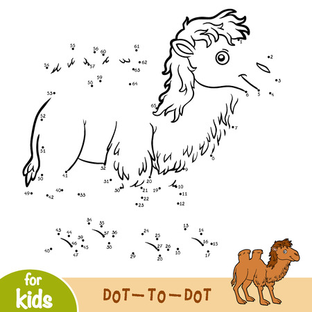 Numbers game, education dot to dot game for children, Two-humped camel