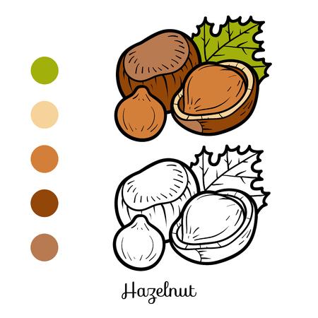 Coloring book for children, hazelnut vector illustration.