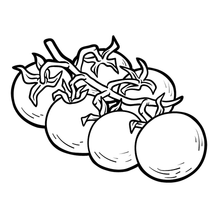 Coloring Book For Children Cherry Tomatoes Vector