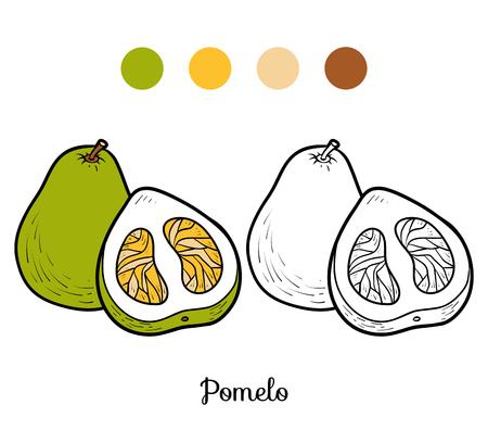 Coloring book for children, pomelo. Vettoriali