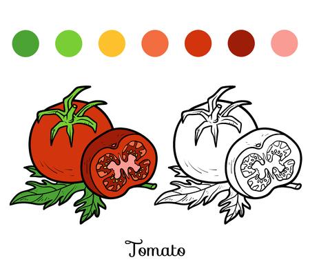 Coloring Book For Children Tomato Vector