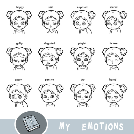 Cartoon visual dictionary for children. The human emotions. Set of girl faces with different expressions