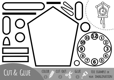 Education paper game for children, Cuckoo-clock. Use scissors and glue to create the image.