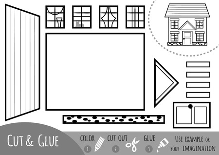 Education paper game for children, House. Use scissors and glue to create the image.