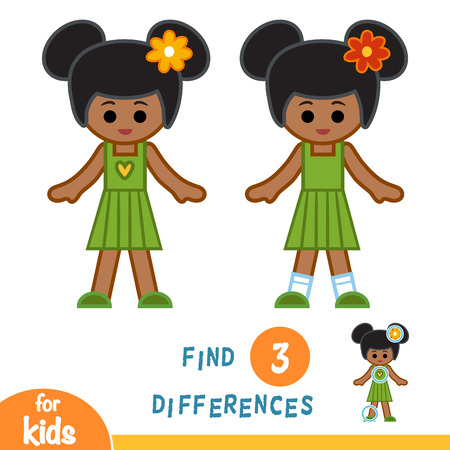 Find differences, education game for children, African American girl