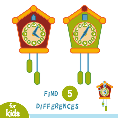 Find differences, education game for children, Cuckoo-clock Illustration