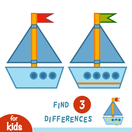 Find differences, education game for children, Yacht