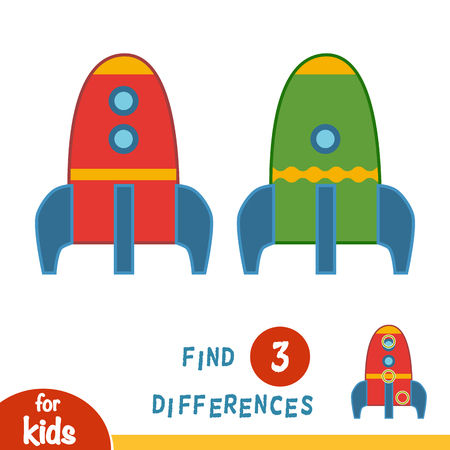 Find differences, education game for children, Spaceship Illustration