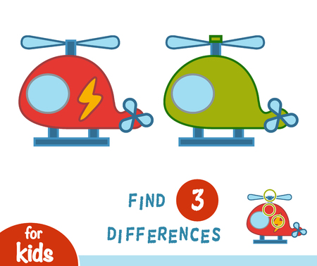 Find differences, education game for children, Helicopter Illustration