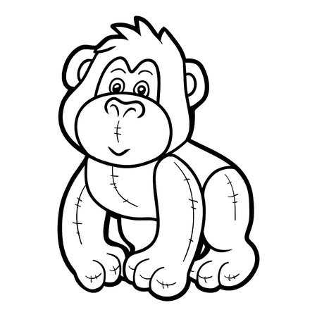 Coloring book for children, Stuffed toy gorilla 向量圖像