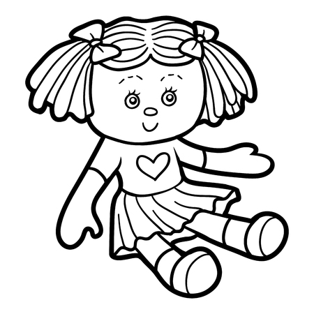 Coloring book for children, Doll Vectores