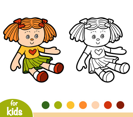 Coloring book for children, Doll  イラスト・ベクター素材