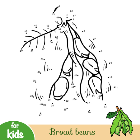 Numbers game, education dot to dot game for children, Broad beans Vektoros illusztráció