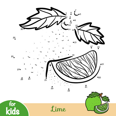 Numbers game, education dot to dot game for children, Lime Illustration