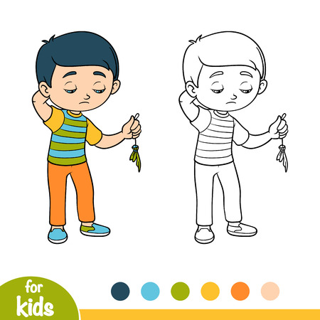 Coloring book for children, Sad boy hold burst balloon