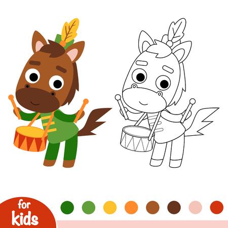 Coloring book for children, Horse drummer