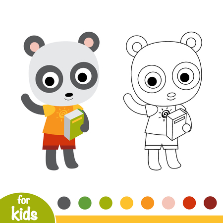 Coloring book for children, Panda and a book