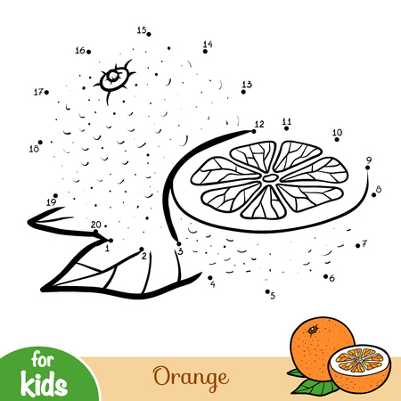 Numbers game, education dot to dot game for children, Orange