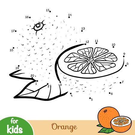 Gioco di numeri, gioco educativo punto per punto per bambini, arancione