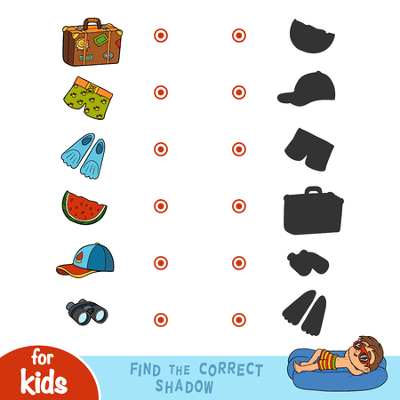 Find the correct shadow, education game for children. Set of summer items and objects for holidays Illustration