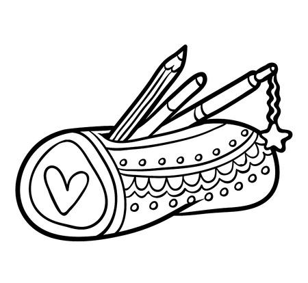 Coloring book for children, Pencil case Stok Fotoğraf - 101150314