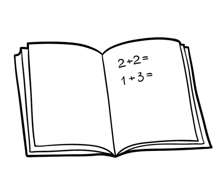 Coloring book for children, Math workbook Illustration