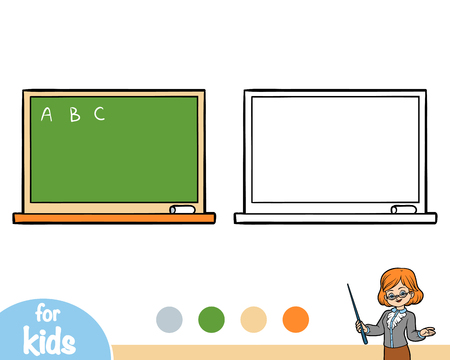 Coloring book for children, Green chalkboard isolated on  plain background.