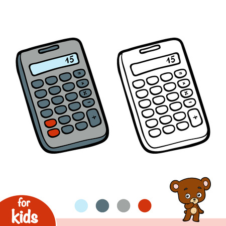 Coloring book for children, Calculator isolated on  plain background. 矢量图像