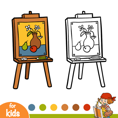 Coloring book for children, still life on the Easel 일러스트