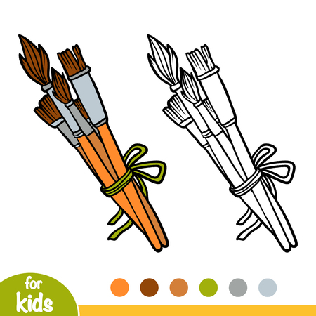 Coloring book for children, set of Paint brushes isolated on  plain background. Illustration
