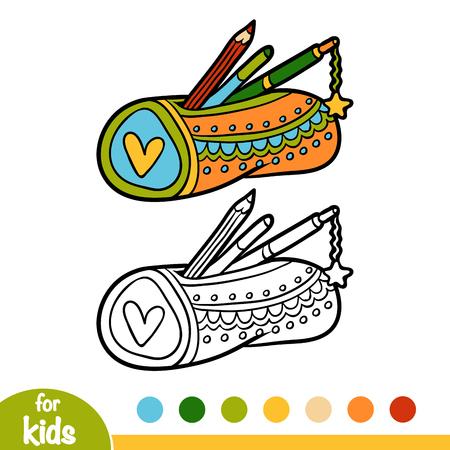 Livre de coloriage pour enfants, étui à crayons isolé sur fond uni.